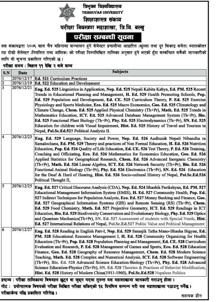 M.Ed Second Semester (Regular and Distance Learning) Exam Routine: Tribhuvan University Published